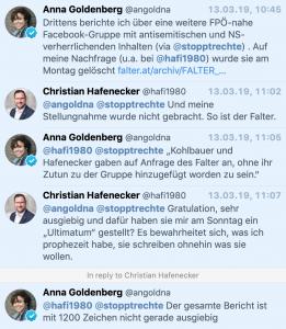 """""""So ist der Falter."""" """"Sie schreiben ohnehin nur, was sie wollen."""" Christian Hafenecker zur Falter-Journalistin Anna Goldenberg (zur Gruppe """"FPÖ Seitenadmnistratoren"""")"""