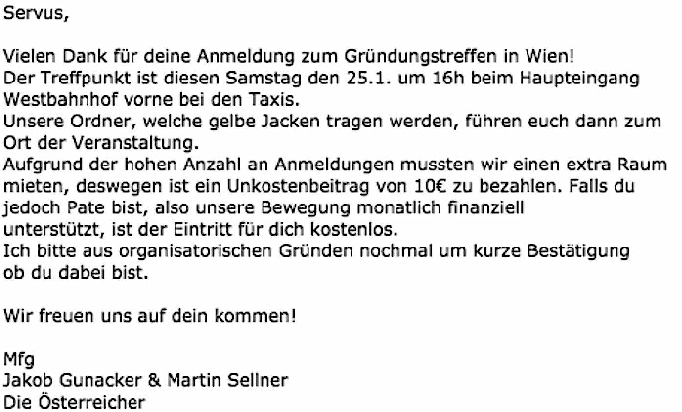 Gunacker und Sellner Gründungsversammling von DO5: 10.- Kosten