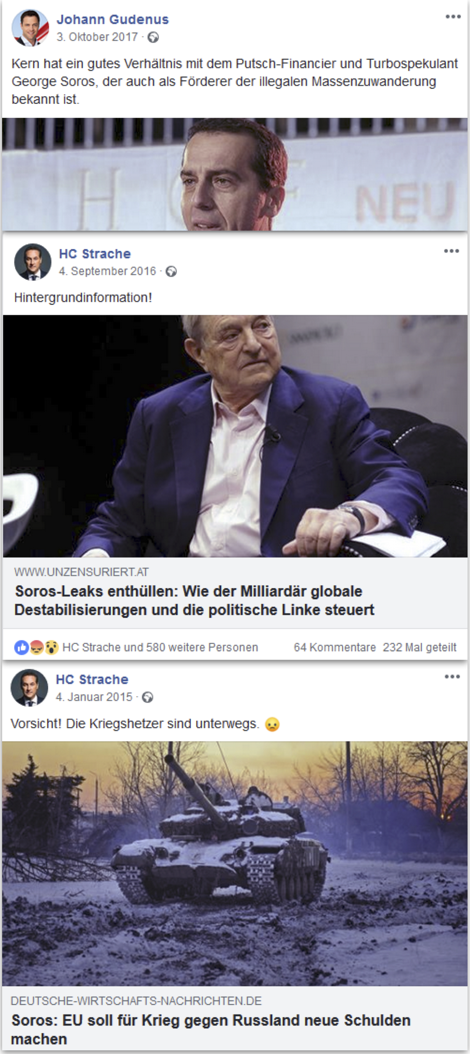Antisemitische Kampagnen der FPÖ (Screenshots FB Strache, Gudenus)
