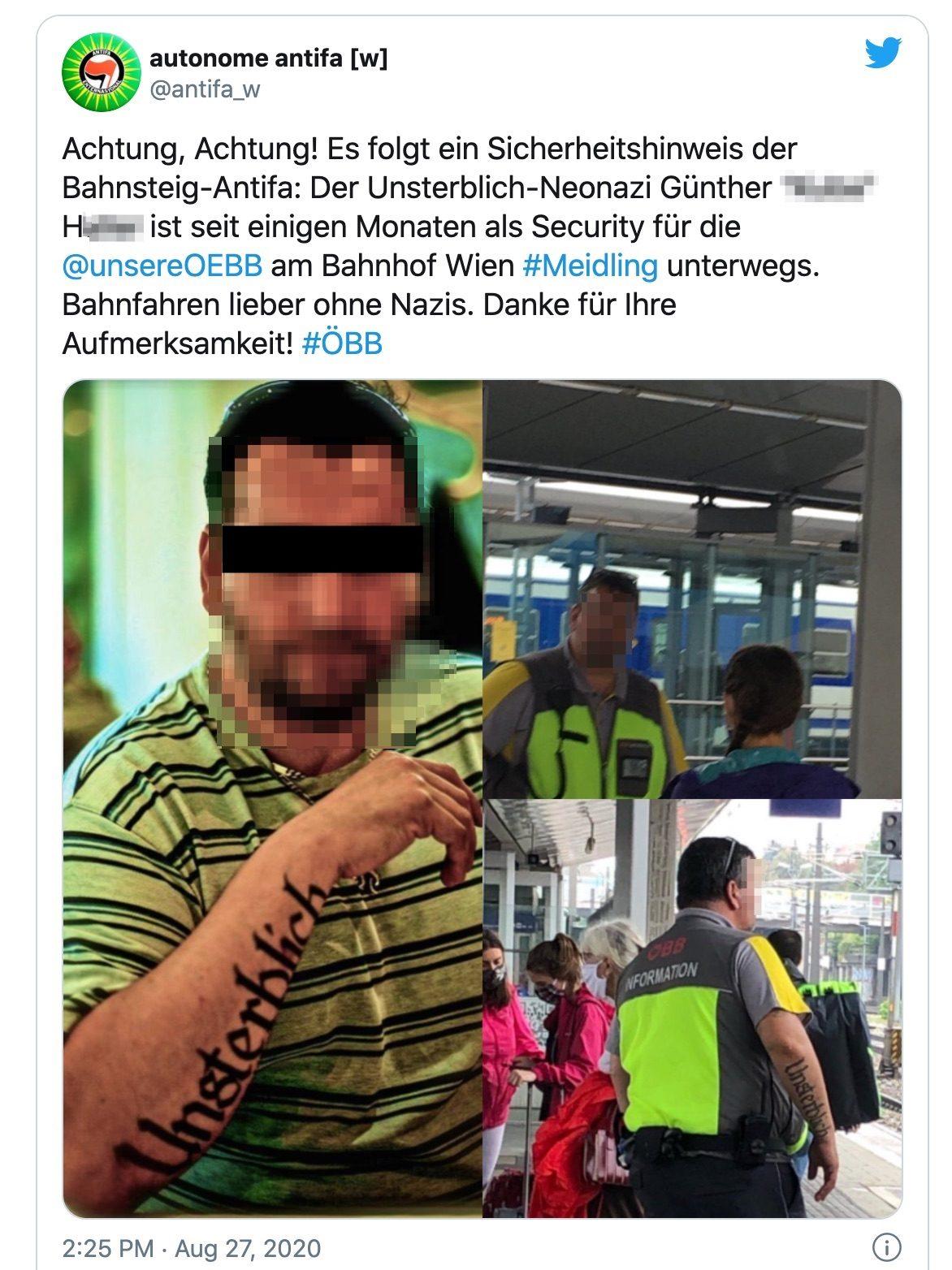 Günt(h)er H. als Security am Bahnhof Meidling (Twitter @antifa_w)