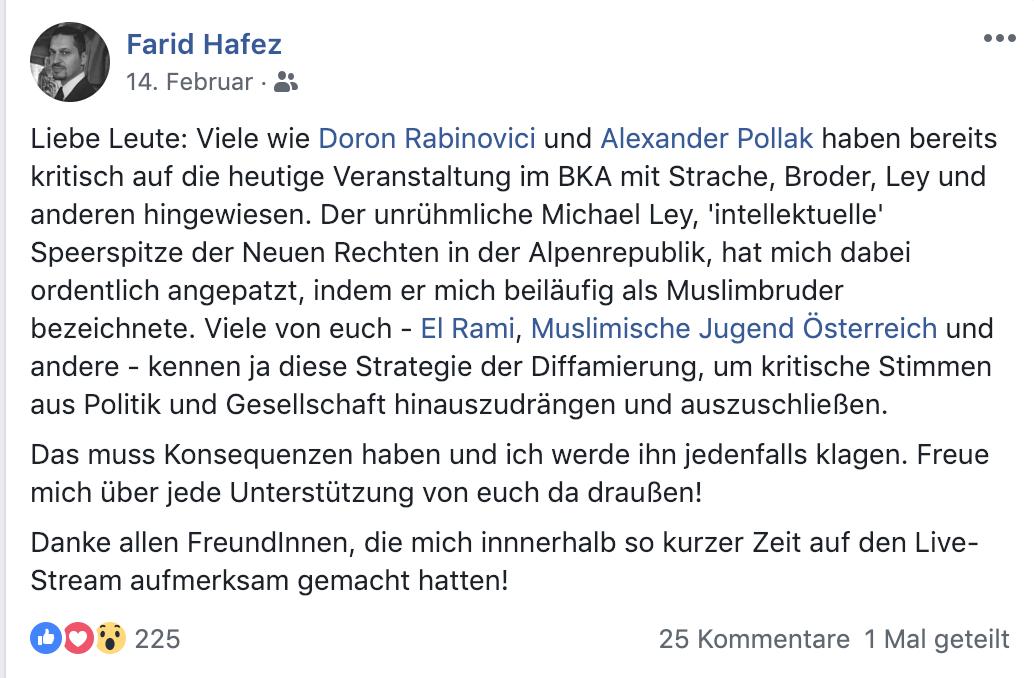 """Farid Hafez auf Facebook: """"Ich werde ihn jedenfalls klagen."""""""