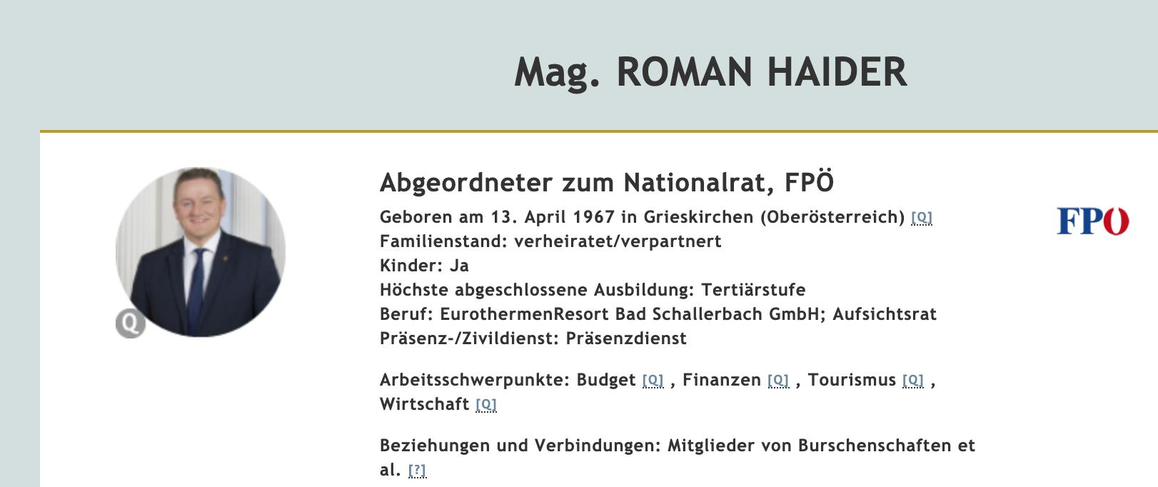 """Roman Haider auf """"Meine Abgeordneten"""""""