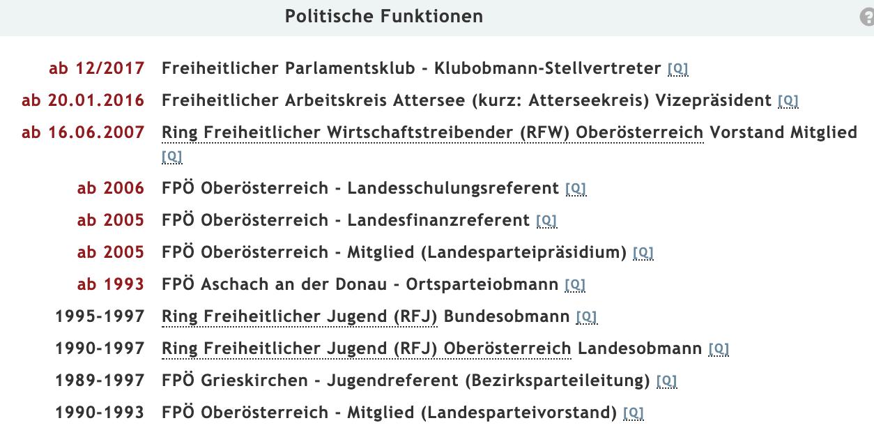 """Roman Haider - seit 1989 stramme Karriere in der FPÖ (Quelle: """"Meine Abgeordneten"""")"""