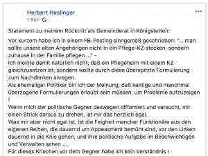 Haslinger erklärt seinen Rücktritt (Facebook Screenshot)