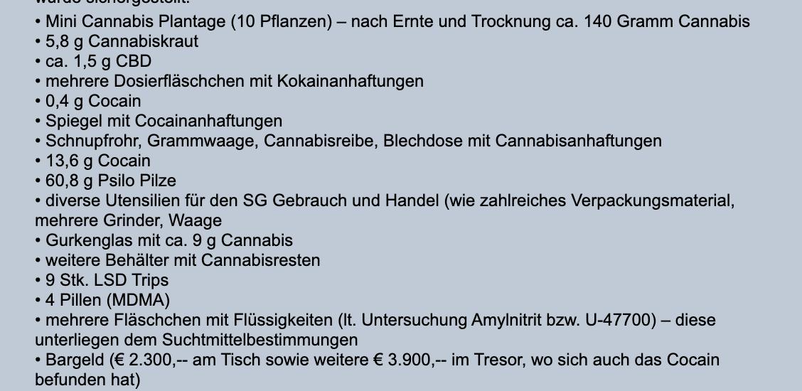 Drogenfunde bei den Hausdurchsuchungen (Presseaussendung Polizei Niederösterreich)
