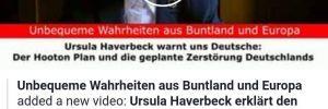 Holocaustleugnerin Ursula Haverbeck zum Hooton-Plan (Screenshot Facebook)