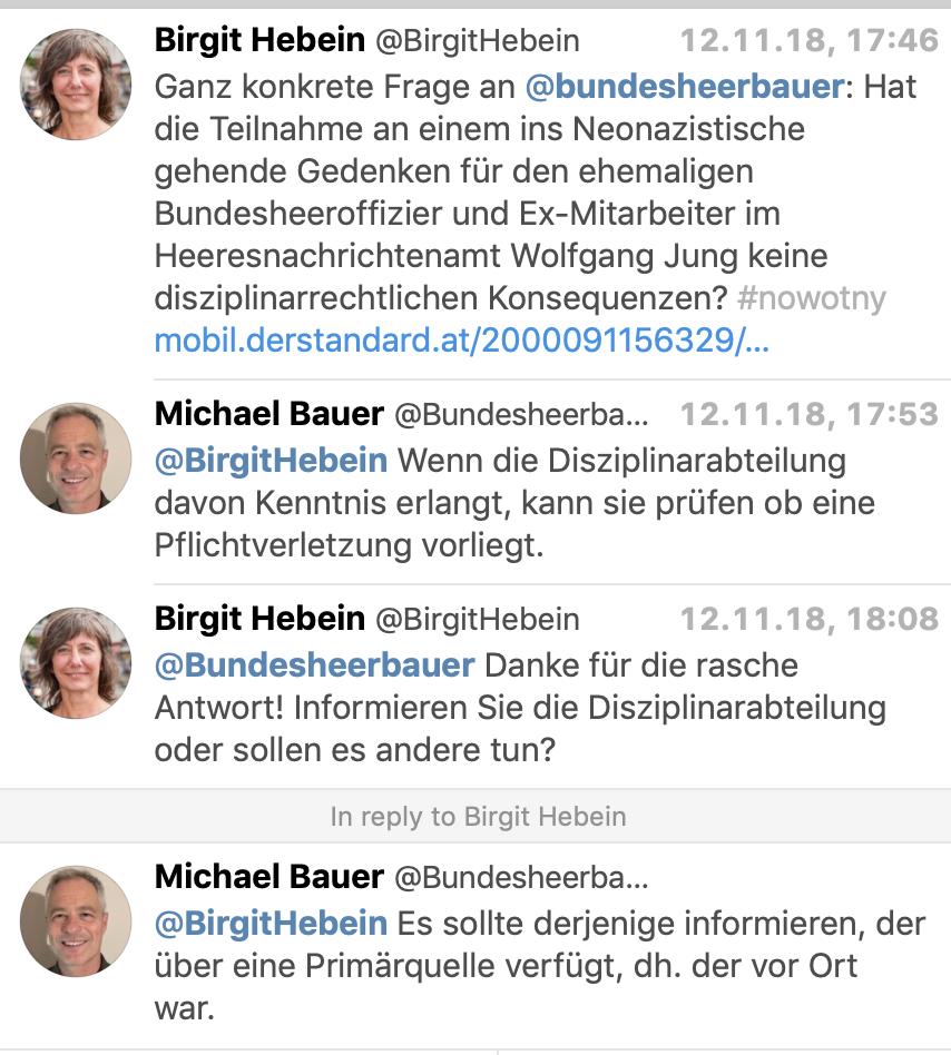 Twitterkonversation Hebein mit Bauer (Sprecher Verteidigungsministerium)