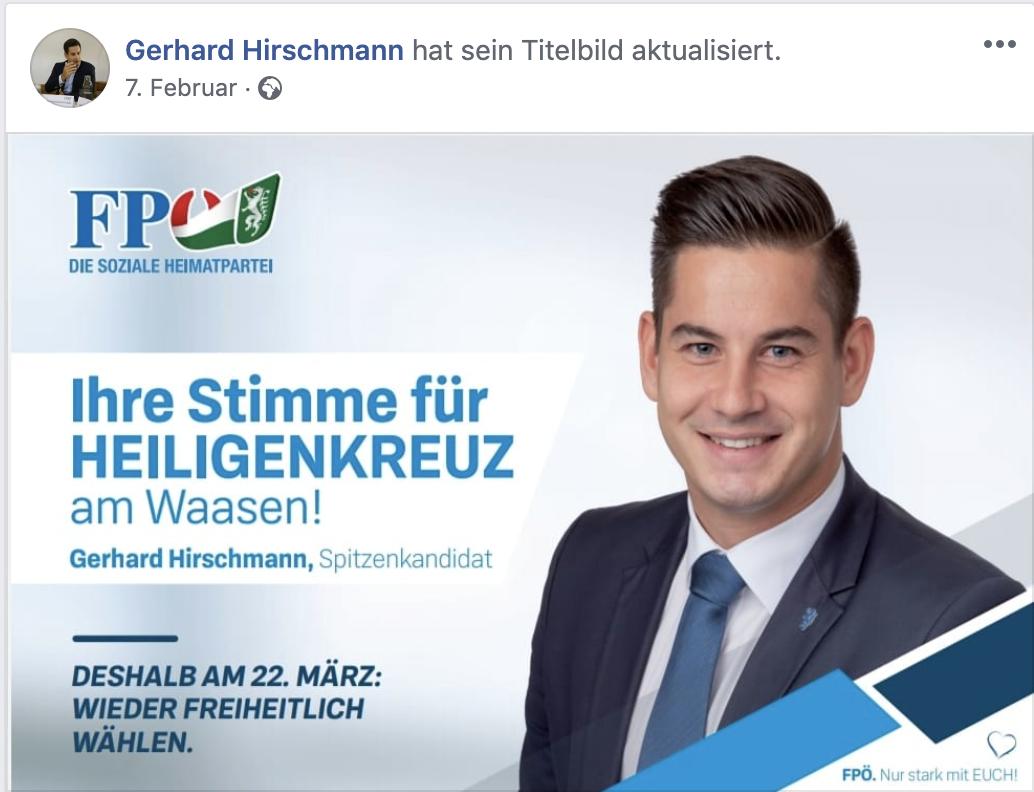 Gerhard Hirschmann: Spitzenkandidat in Heiligenkreuz am Waasen