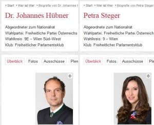 Screenshots von der Parlamentshomepage, wo sich die Abgeordneten zum Nationalrat Johannes Hübner und Petra Steger mit Kornblume präsentieren - Bildquelle: Österreichisches Parlament