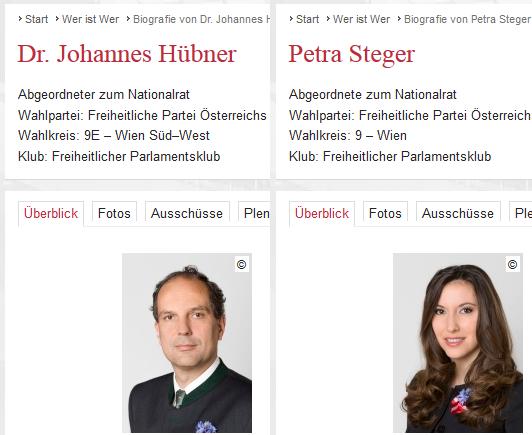 Screenshots von der Parlamentshomepage, wo sich die Abgeordneten zum Nationalrat Johannes Hübner und Petra Steger mit Kornblume präsentieren - Bildquelle: Österreichisches Parlament (1/2)