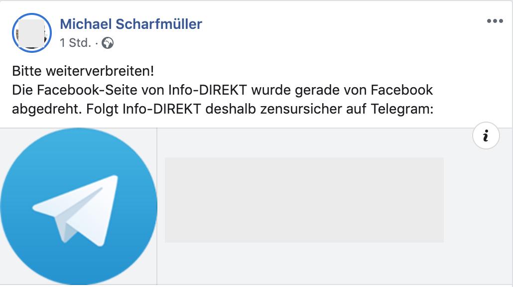 Scharfmüller verkündet auf Facebook das Aus der FB-Page von Info-Direkt