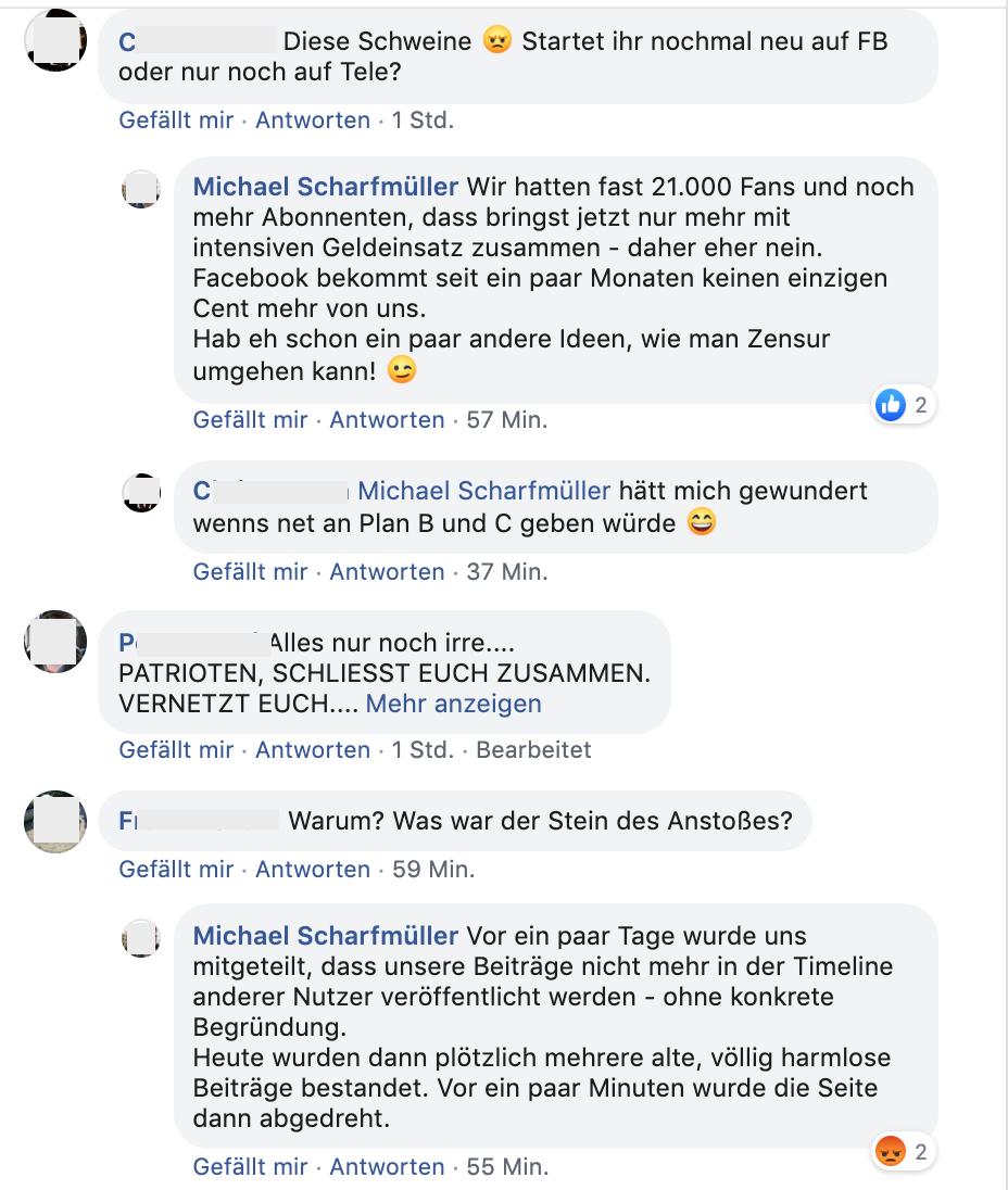 Scharfmüller zum Aus der FB-Page von Info-Direkt