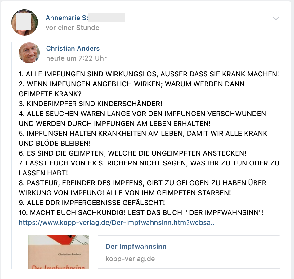 """Der Impfwahnsinn"" aus dem Kopp-Verlag (vk.com 6.5.19)"