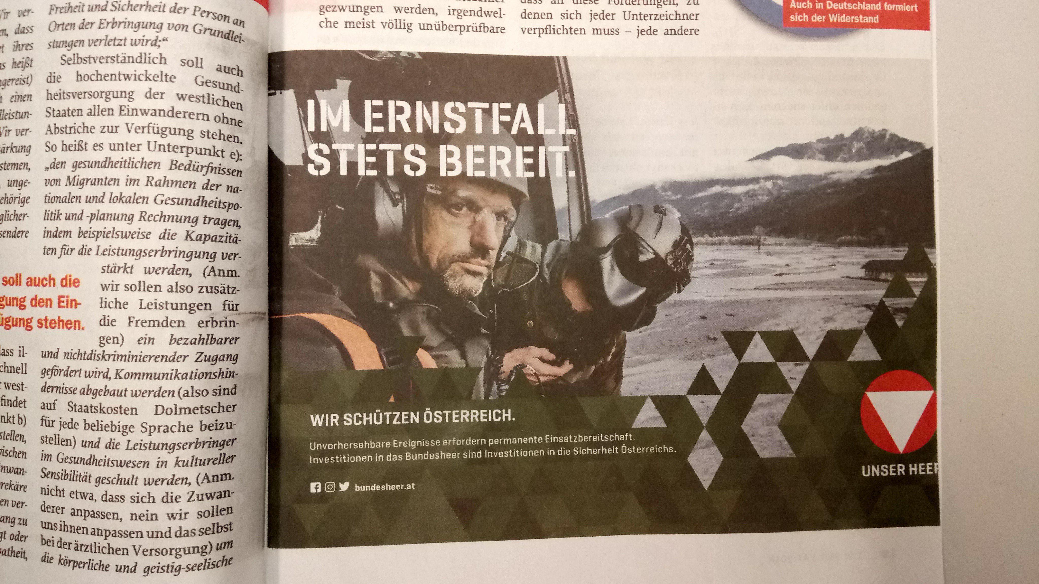 """Inserat BMLV in """"Zur Zeit"""" (Ausgaben 46 und 47/18)"""