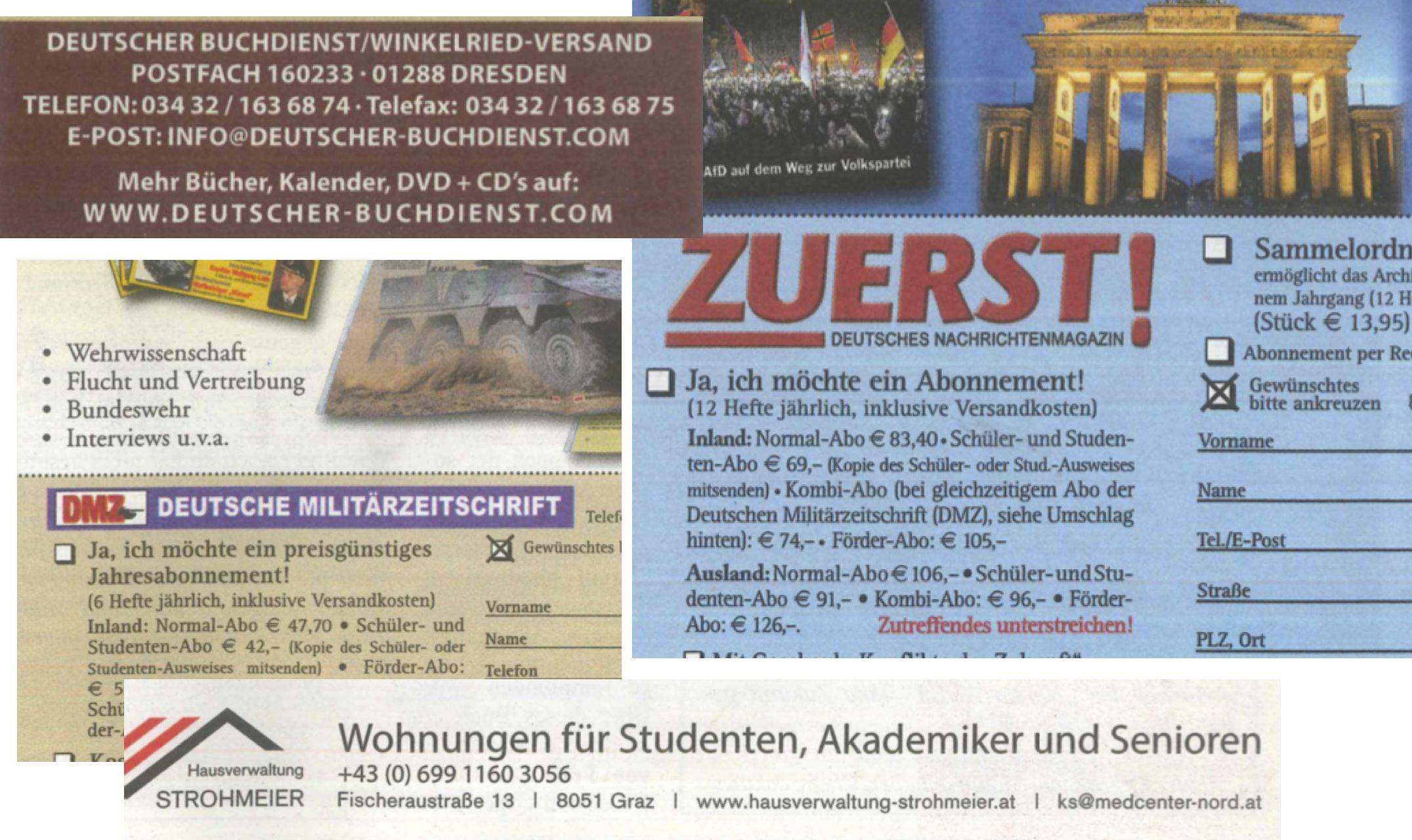 """Die Inserate in der """"Neuen Aula"""": """"Zuerst"""", Deutscher Buchdienst, Deutsche Militärzeitschrift, Hausvrwaltung Strohmeier"""