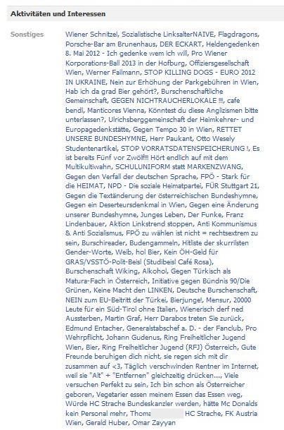 Aktivitäten und Interessen auf Facebook-Account von Thomas C. (2011)