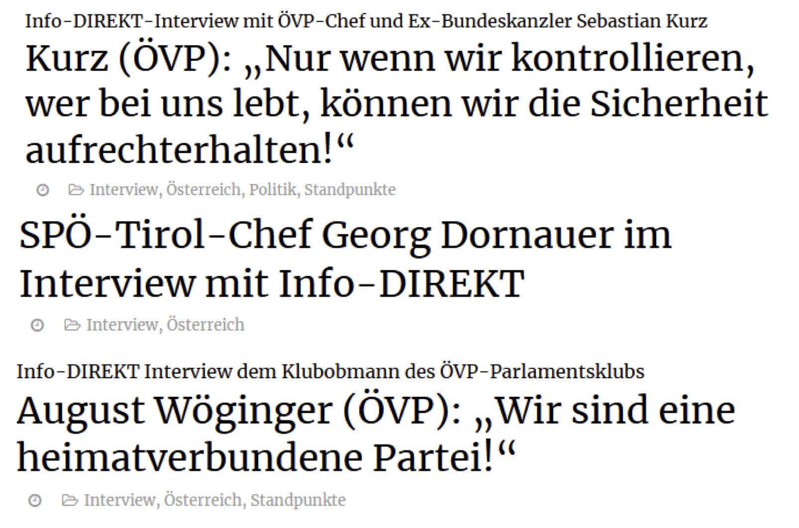 Interviews mit Info-Direkt: Kurz, Dornauer, Wöginger