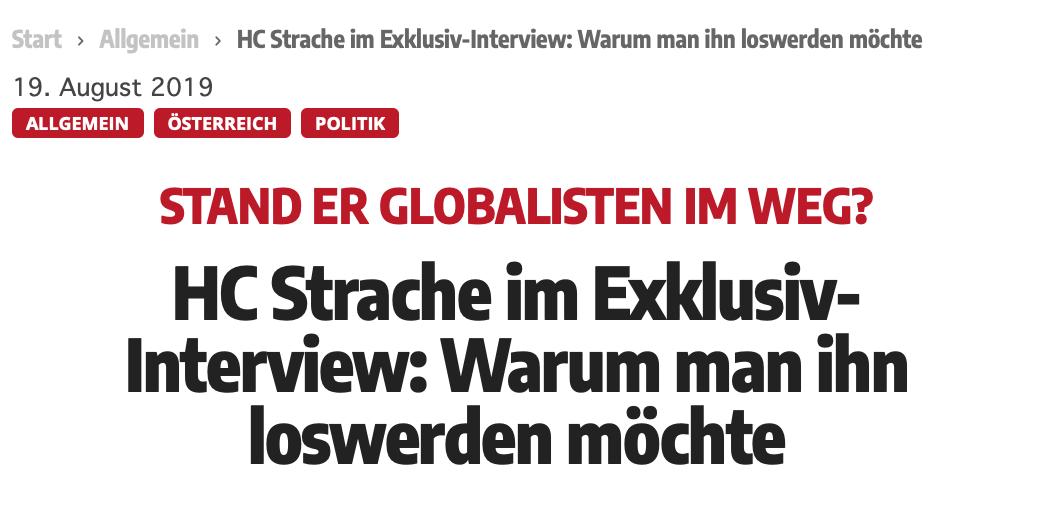 """Titel Strache-Interview im Wochenblick: """"Stand er Globalisten im Weg?"""""""