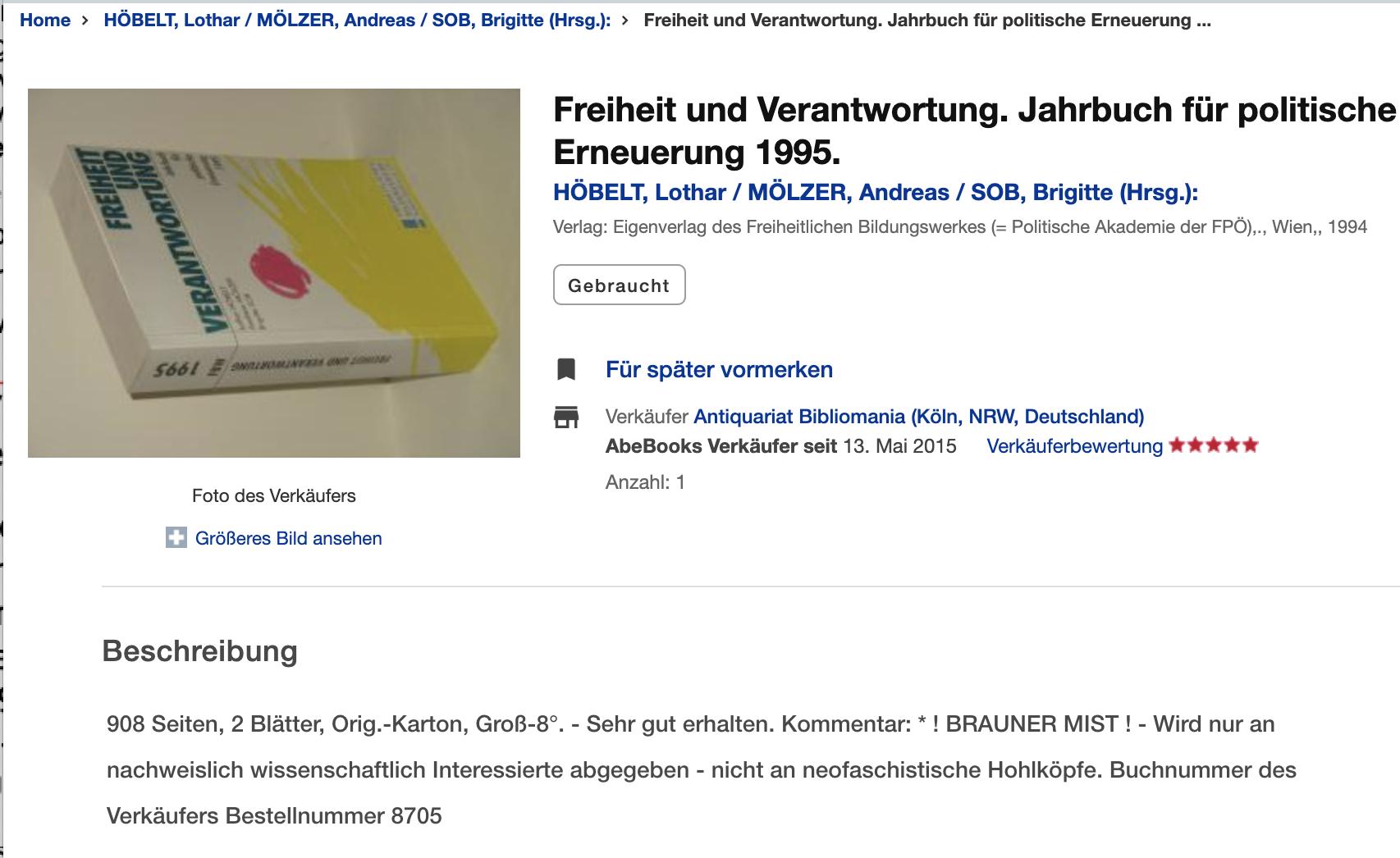 """Jahrbuch 1995 antiquarisch zu erweben, Kommentar des Verkäufers: """"! BRAUNER MIST ! - Wird nur an nachweislich wissenschaftlich Interessierte abgegeben - nicht an neofaschistische Hohlköpfe."""" (Screenshot zvab.com)"""