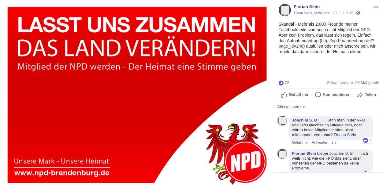 Joachim S. B. fragt bei der NPD an, ob denn eine Doppelmitgliedschaft in NPD und FPÖ möglich ist.