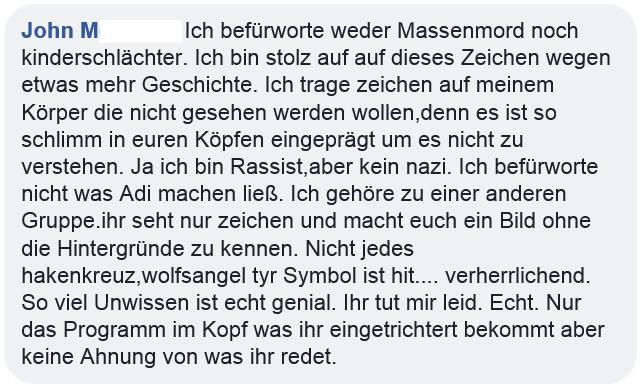 "John M.: ""Ich bin Rassist, aber kein nazi"" (Screenshot Facebook)"