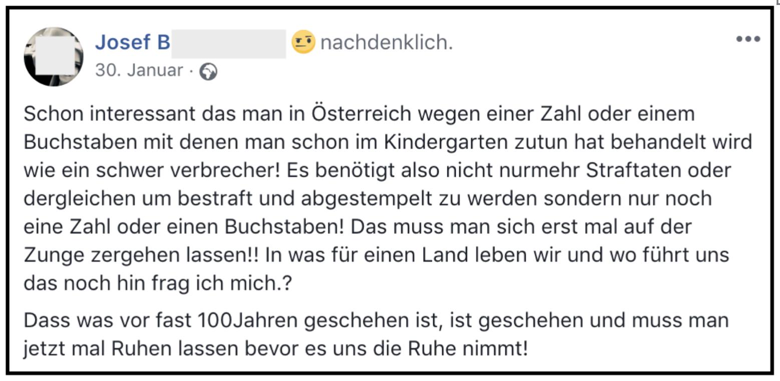 """Josef B.: """"Dass was vor fast 100Jahren geschehen ist, ist geschehen und muss man jetzt mal Ruhen lassen bevor es uns die Ruhe nimmt!"""" (Screenshot FB-Posting 30.1.2018)"""