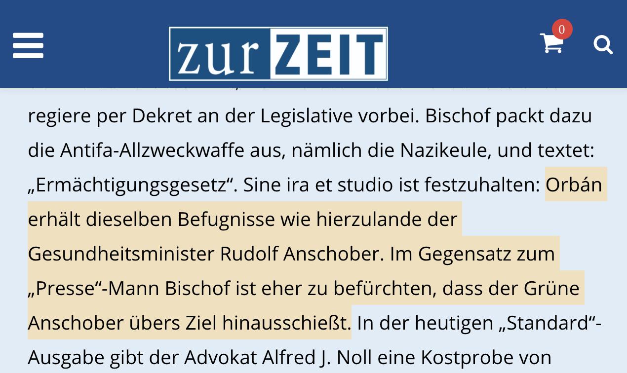 """""""Zur Zeit"""" lobt Orbán und kritisiert Anschober: """"Orbán erhält dieselben Befugnisse wie hierzulande der Gesundheitsminister Rudolf Anschober."""""""