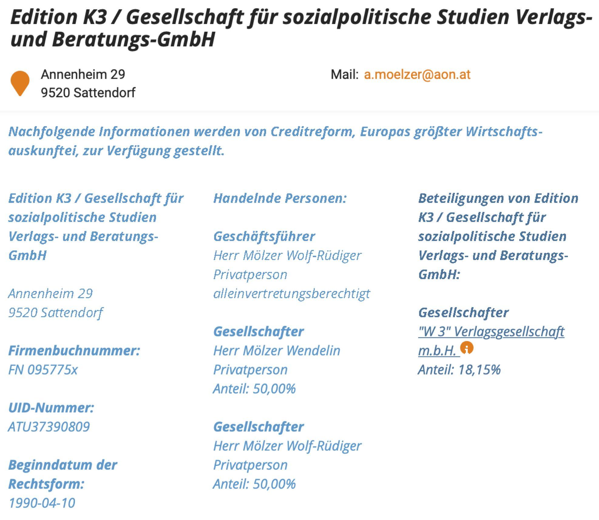Firmenbuch Edition K3: Gesellschafter Wolf-Rüdiger und Wendelin Mölzer