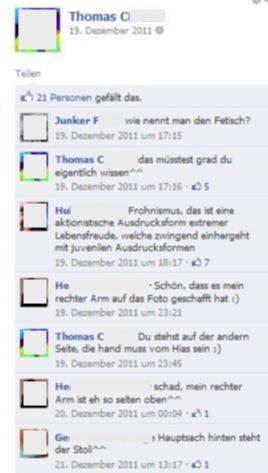 Facebookunterhaltung (2011): Thomas K.-C., H.G. (Mitarbeiter Kabinett Hofer und Ex-Obmann Franko-Cherusker), H.E. (Pressereferent im FPÖ-Parlamentsklub)