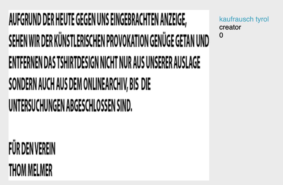 """Entfernung des T-Shirts """"Kaufrausch tyrol"""" aus einem Online-Shop """"Bis die Untersuchungen abgeschlossen sind"""""""