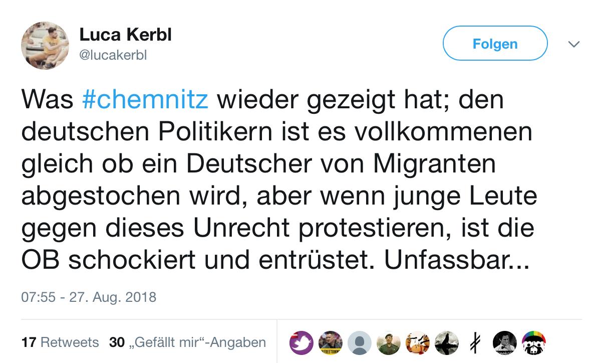 Luca Kerbl äußert sich über die Chemnitzer Oberbürgermeisterin, ohne zu erwähnen, dass er am 27.8. bereits dabei war