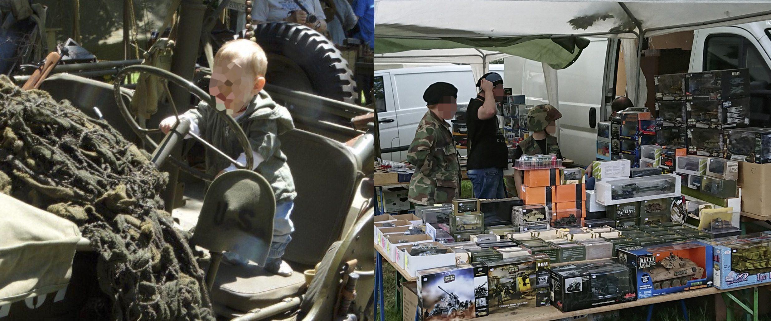Die Panzerschau als Familienevent: Kinder auf Militärfahrzeugen und in Uniform (©SdR)