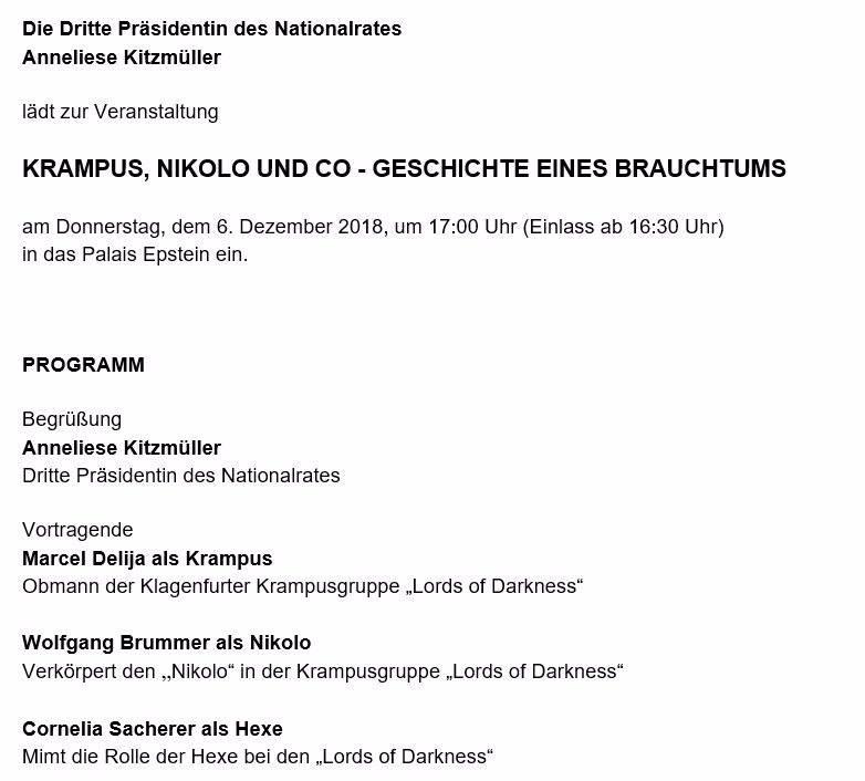 """Einladung ins Parlament von Anneliese Kitzmüller zu """"Krampus, Nikolo und Co"""""""