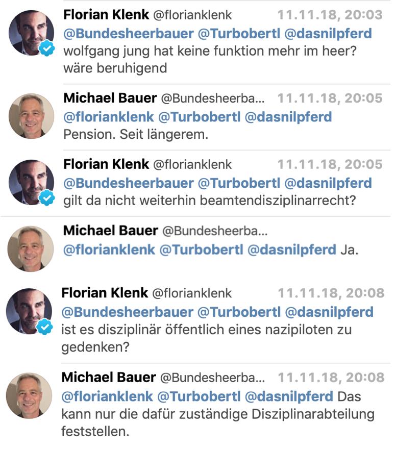Twitterkonversation Klenk mit Bauer (Sprecher Verteidigungsministerium)