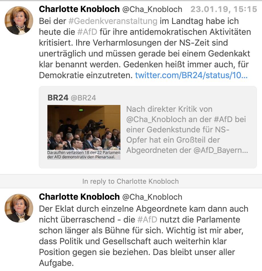 Charlotte Knobloch in Reaktion zur AfD (Twitter)
