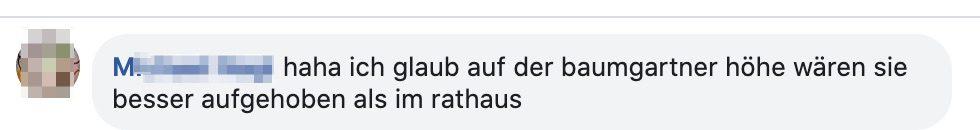 """Kommentar zu Paukovics: """"haha ich glaub auf der baumgartner höhe wären sie besser aufgehoben als im rathaus"""""""