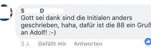 Kommentar zum 88er-Kennzeichen (Screenshot Facebook)