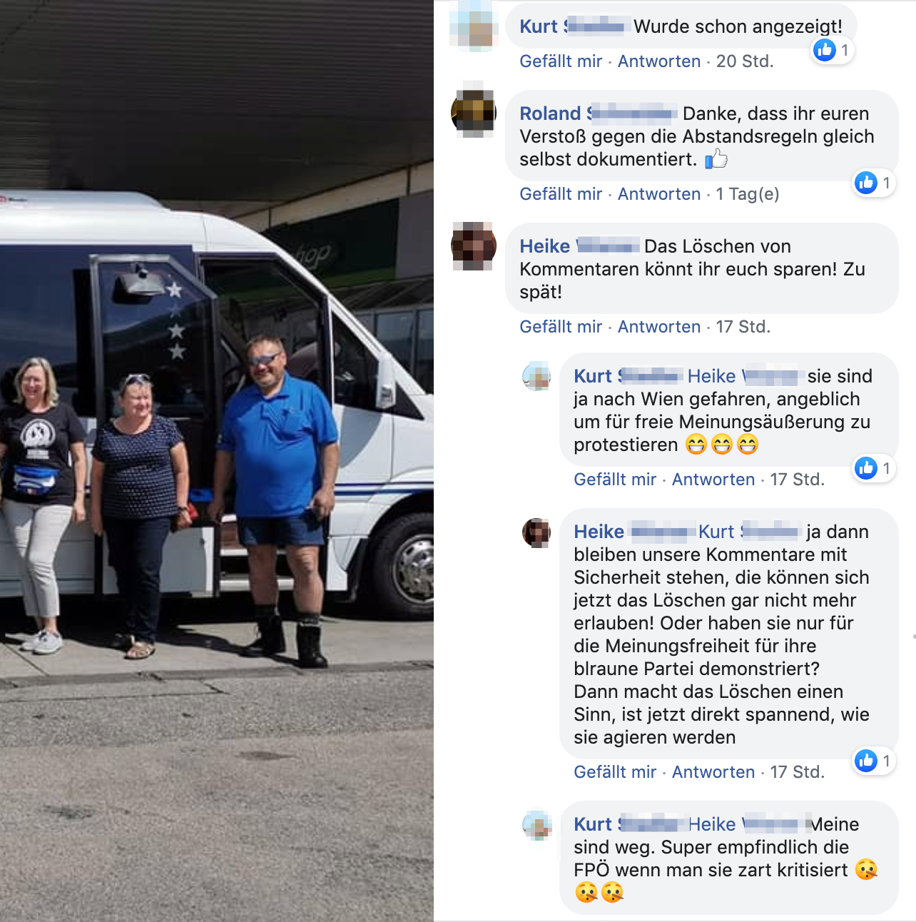 """Kommentare bei der FPÖ Sierning: """"Danke, dass ihr euren Verstoß gegen die Abstandsregeln gleich selbst dokumentiert."""""""