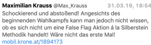 "Tweet Maximilian Krauss: rassistisches Video als ""False Flag""-Aktion"