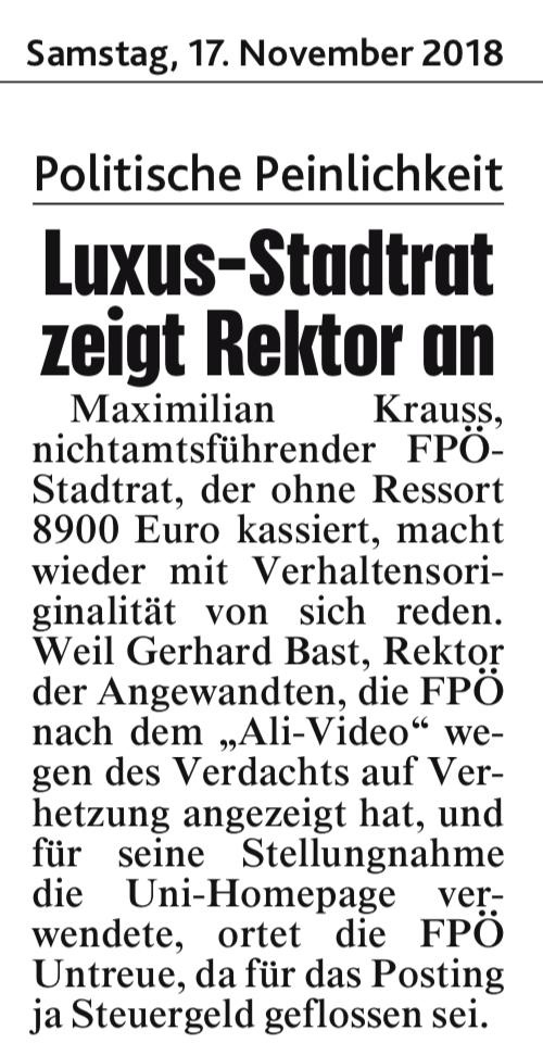 Politische Peinlichkeit (Kronen Zeitung, 17.11.18)
