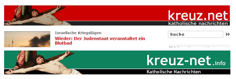 kreuz.net und kreuz-net.info - nicht nur ähnlicher Name und gleiches Programm sondern auch überaus ähnliches Erscheinungsbild... (oben alt, unten neu)