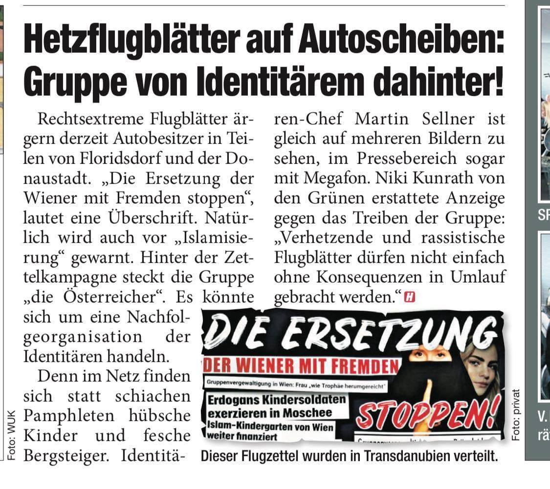 Anzeige Niki Kunrath gegen Identitäre wegen illegaler Flugblätter