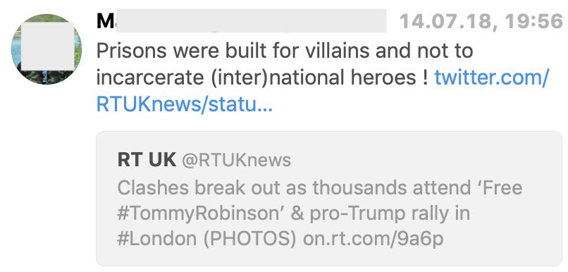 """M.L. bezeichnet auf Twitter den Rechtsextremen Tommy Robinson als """"Held"""""""