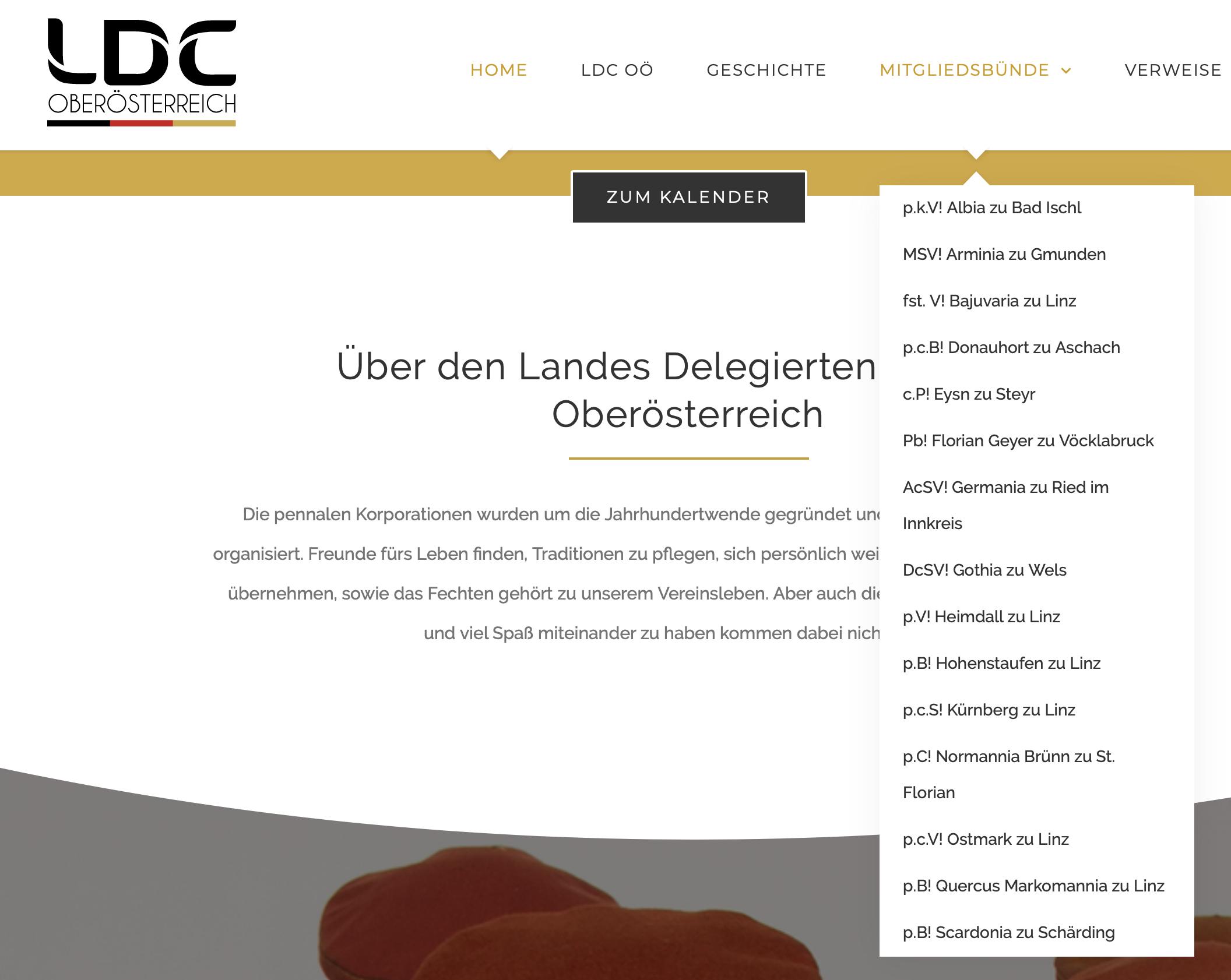 """Mitglieder des LDC Oberösterreich: von der """"Albia zu Bad Ischl"""" bis zur """"Scardonia zu Schärding"""""""