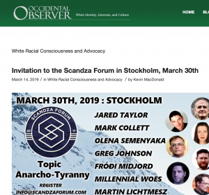 "Einladung zum Scandza Forum 2019 in der Rubrik ""White Racial Consciousness and Advocacy"""