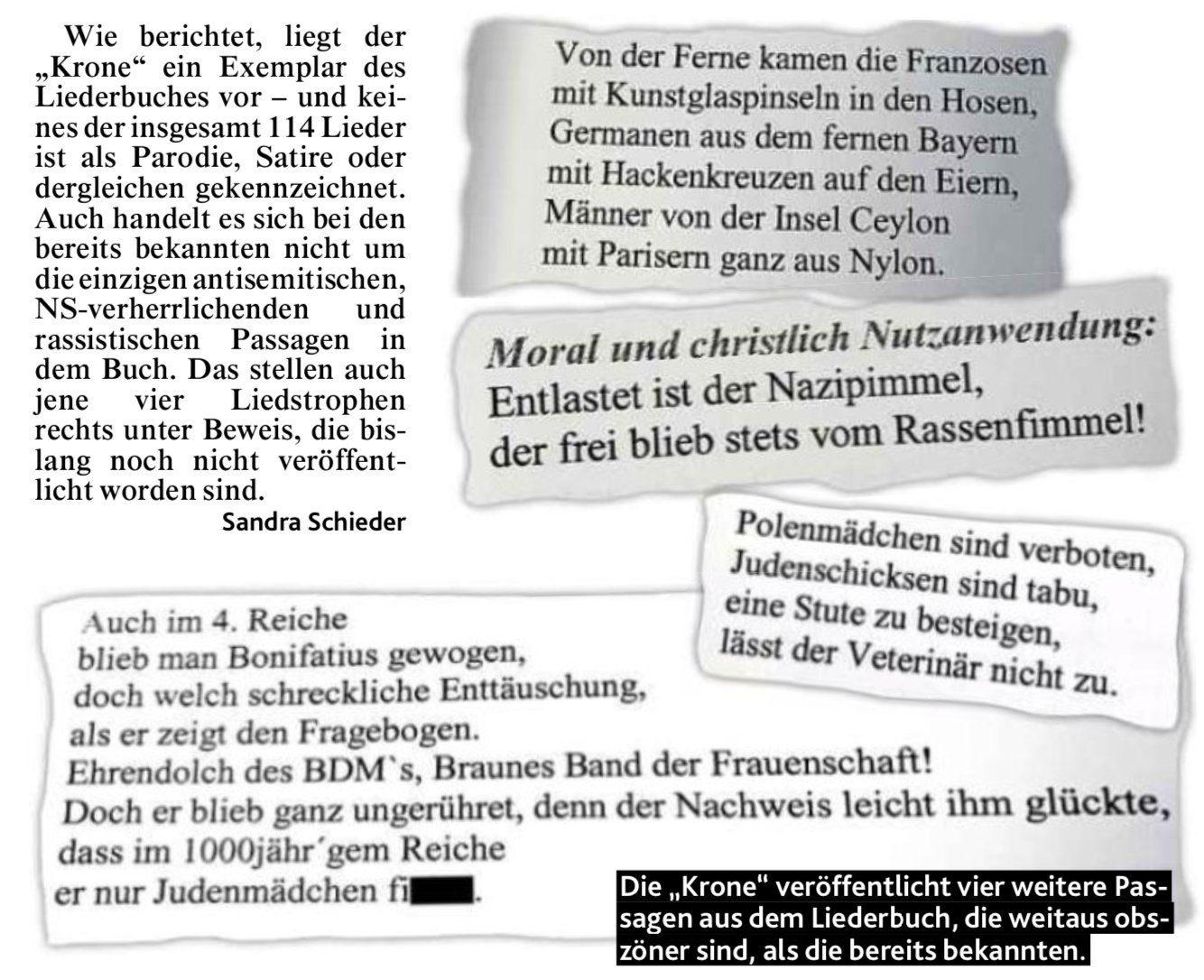 Ausschnitte aus dem Liederbuch der Austria Knittelfeld (Kronen Zeitung, 1.11.19)
