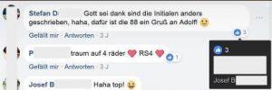"""Ein Like von Josef B. für den Hinweis, die """"88"""" auf seinem Autokennzeichen sei ein Gruß an Adolf"""