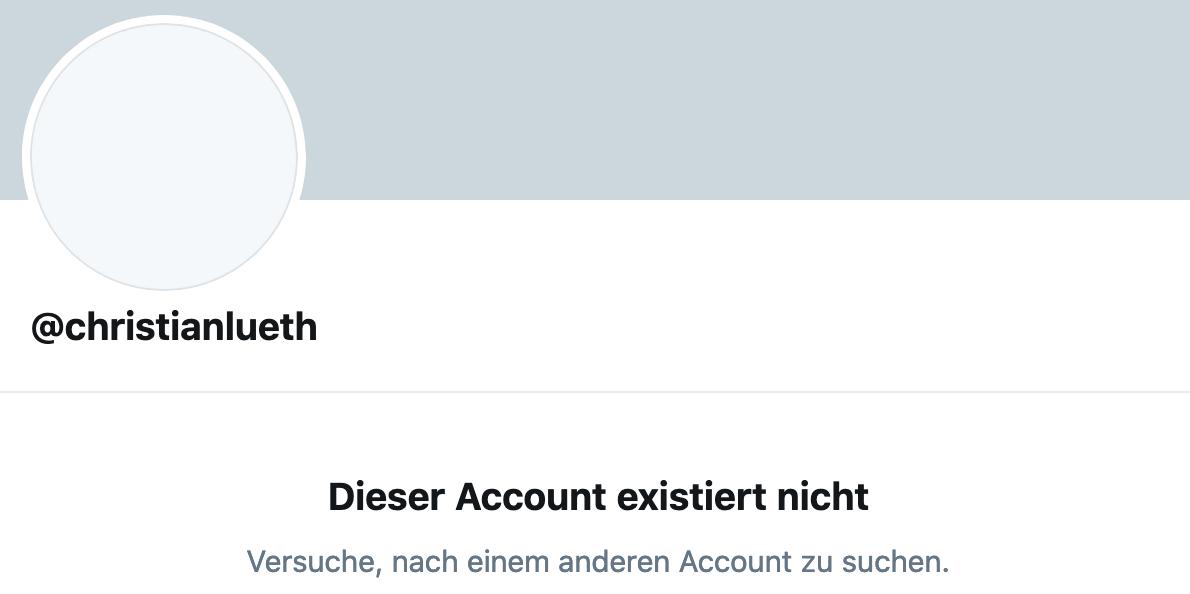 Christan Lüth hat nach Bekanntwerden seiner Aussagen seinen Twitter-Account gelöscht