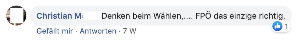 """M. bei Schießl: """"Denken beim Wählen,.... FPÖ das einzige richtig."""""""