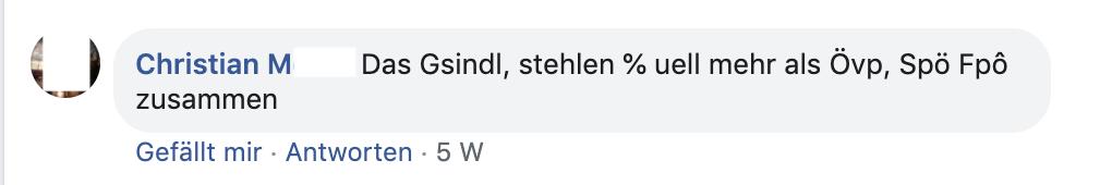 """M. bei Schießl: """"Das Gsindl, stehlen %uell mehr als Övp, Spö, Fpö zusammen."""""""